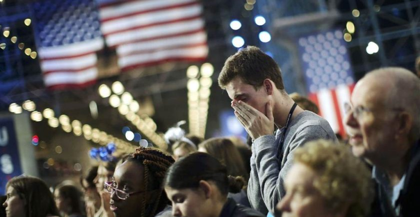 Hillary Clinton's supporters watch in anguish in New York City as results are declared on Election Night. Carlos Barria/ Reuters
